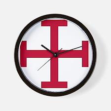 2-Cross Potent - Red Wall Clock