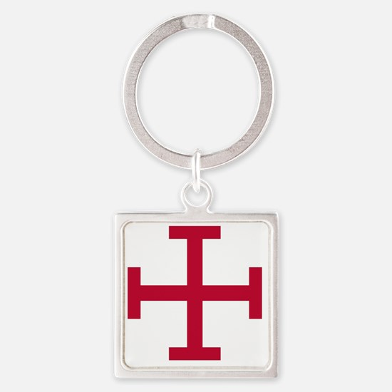 2-Cross Potent - Red Square Keychain