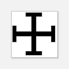 "Cross Potent - Black Square Sticker 3"" x 3"""