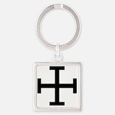 Cross Potent - Black Square Keychain