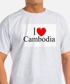 """I Love Cambodia"" Ash Grey T-Shirt"