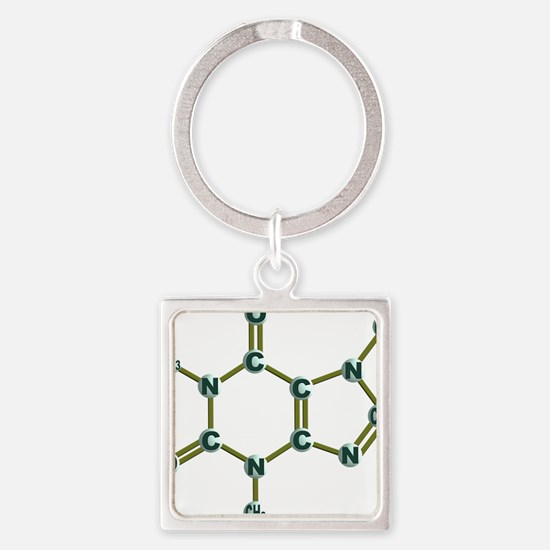 Caffeine Molecule Dark Square Keychain