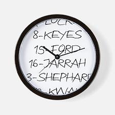 2-LOST-names-(white-shirt) Wall Clock