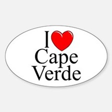 """""""I Love Cape Verde"""" Oval Decal"""