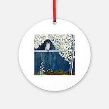 White Horse Round Ornament