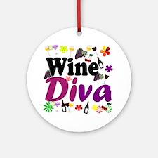 Wine Diva Flowers black purple Round Ornament