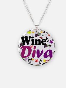 Wine Diva Flowers black purp Necklace