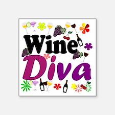 "Wine Diva Flowers black pur Square Sticker 3"" x 3"""