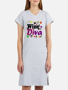 Wine Diva Flowers black purple Women's Nightshirt