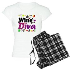 Wine Diva Flowers black pur Pajamas