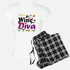 Wine Diva Flowers black pur Pajamas