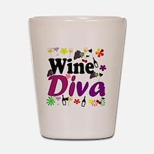 Wine Diva Flowers black purple Shot Glass