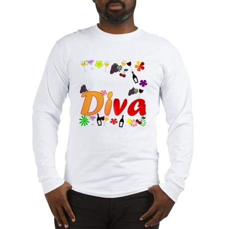 Wine Diva Flowers white Long Sleeve T-Shirt