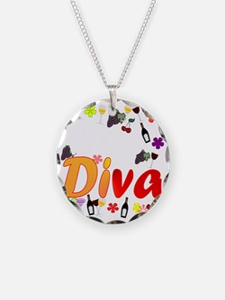 Wine Diva Flowers white Necklace