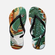 Library Dragon Flip Flops