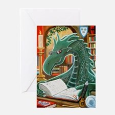 Library Dragon Greeting Card