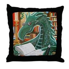 Library Dragon Throw Pillow