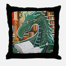 Library Dragon Throw Pillow