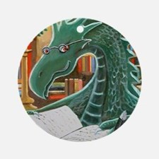 Library Dragon Round Ornament