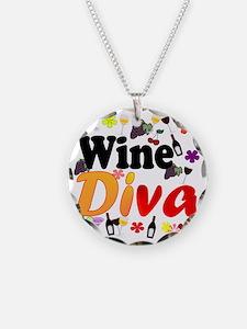 Wine Diva Flowers Black Necklace