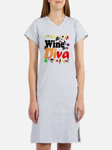 Wine Diva Flowers Black Women's Nightshirt