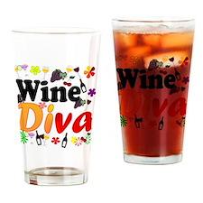 Wine Diva Flowers Black Drinking Glass