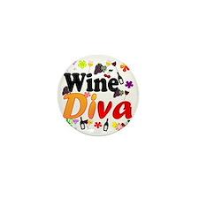 Wine Diva Flowers Black Mini Button