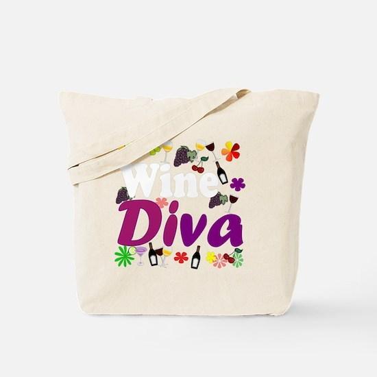 Wine Diva Flowers white purple Tote Bag