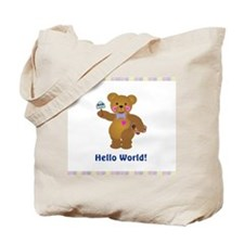 Hello World Baby Bears Tote Bag