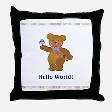 Hello World Baby Bears Throw Pillow