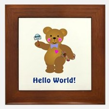 Hello World Baby Bears Framed Tile