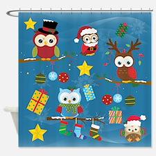 Christmas Owls Shower Curtain