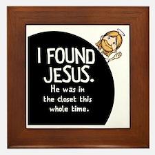 I-found-Jesus-BUTTON Framed Tile