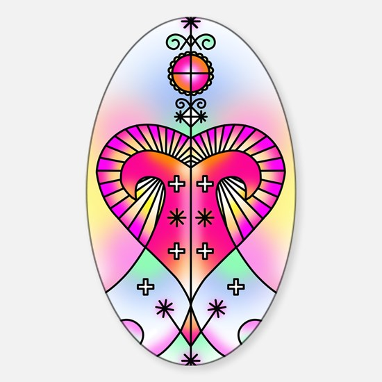erzulie heart colored Sticker (Oval)
