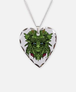 2-GreenMan Necklace Heart Charm
