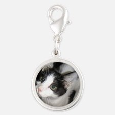 2-MeowCowKitty Silver Round Charm