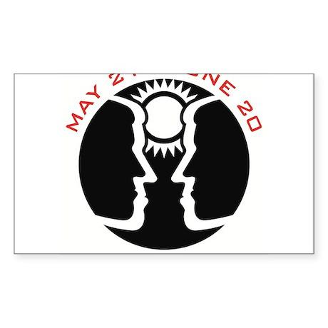 Gemini Emblem Red Rectangle Sticker
