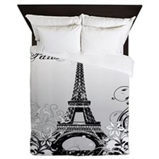 Eiffel Tower Paris B/W Queen Duvet Cover