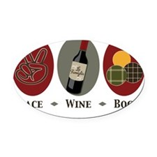 2-PeaceWineBocce2 Oval Car Magnet