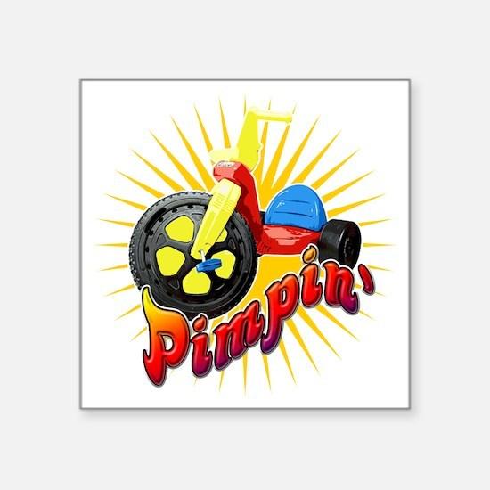 """Big Wheel Pimpin Square Sticker 3"""" x 3"""""""
