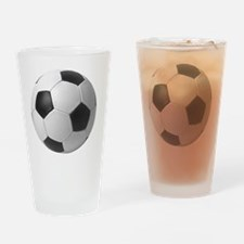 5-soccerballblack Drinking Glass