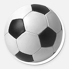 5-soccerballblack Round Car Magnet