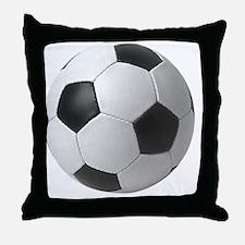 5-soccerballblack Throw Pillow
