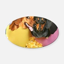 easter eggs and dogs copy Oval Car Magnet
