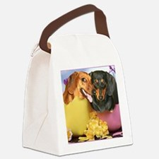 easter eggs and dogs copy Canvas Lunch Bag