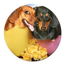 easter eggs and dogs copy Round Car Magnet