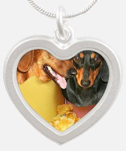 easter eggs and dogs copy Silver Heart Necklace