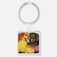 easter eggs and dogs copy Square Keychain