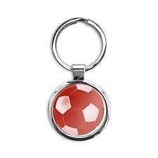 soccerballred Round Keychain