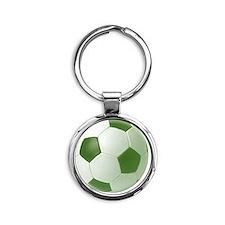 soccerballgreen Round Keychain